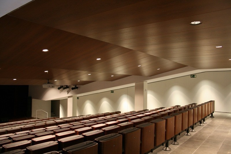 Custom-made wooden ceiling made with laminated panels finished in Sucupira