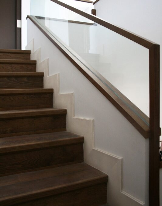 Design and manufacturing handrail fabricated with dyed oak wood and security glass.