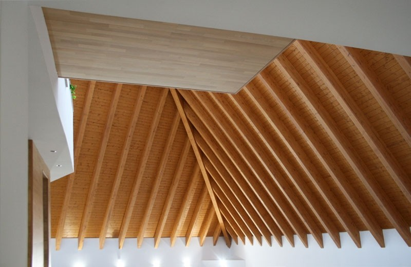 Revestimiento de techo con madera de haya en 3 lamas