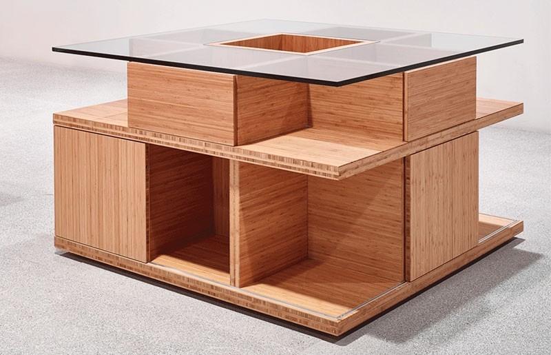 Mesa expositora en bambú_ tienda Museo Pompidou Malaga