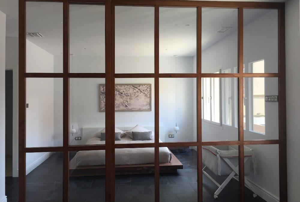 Large glazed sliding door