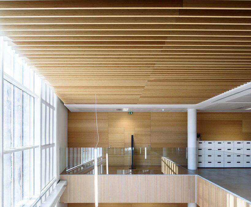 Revestimiento de techo realizado con lamas de bambú