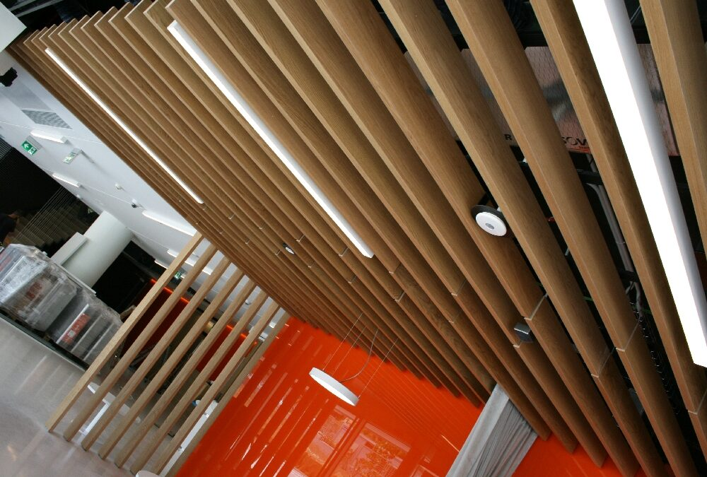 Wood ceiling with oak strips