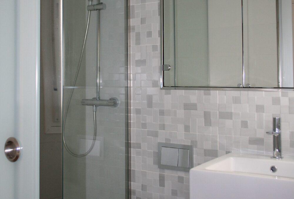 Diseño de baño con mampara de vidrio y mueble espejo
