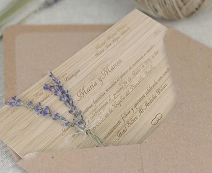 Tarjetas e invitaciones de boda en bambú