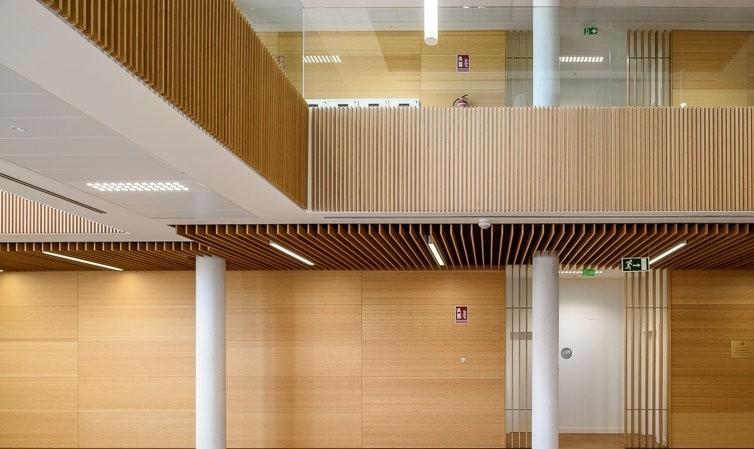 Slatted bamboo  acoustic wall paneling