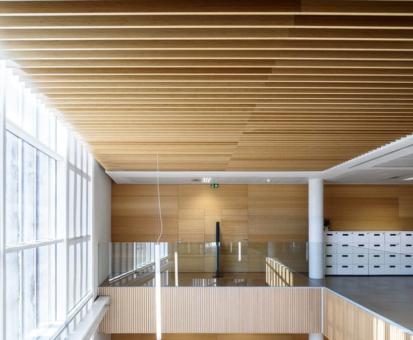 Ceiling coating made with bamboo slats