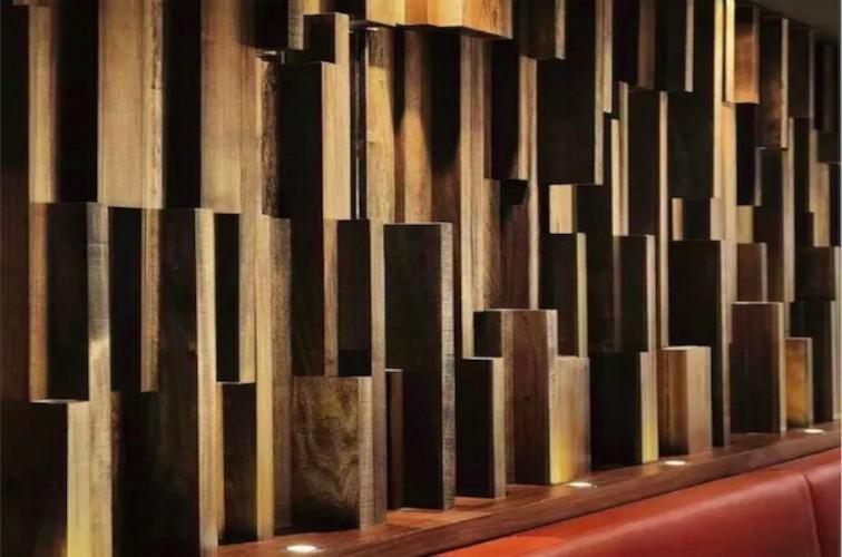 Revestimientos de pared con mosaicos de madera