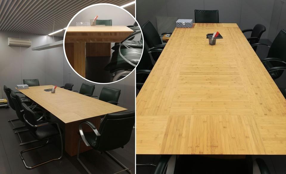Mesa de reuniones fabricada a medida en Bambú de medidas 3,50×1,20m