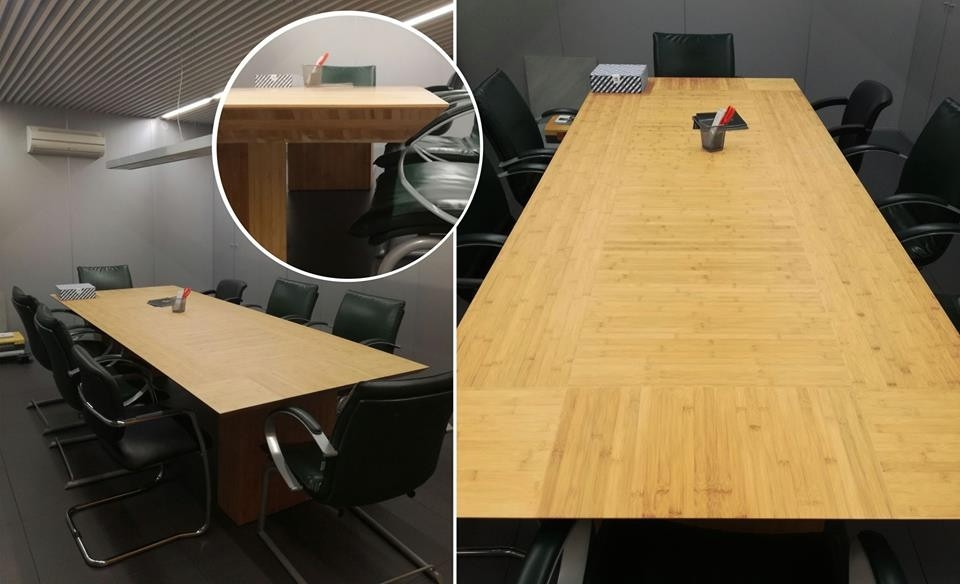 Custom made meeting table in Bamboo
