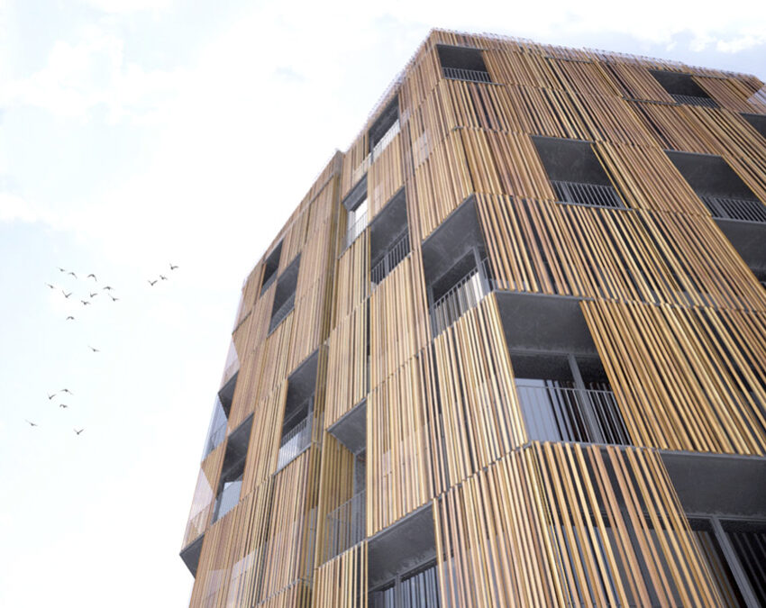 Revestimiento de fachada en lamas de madera