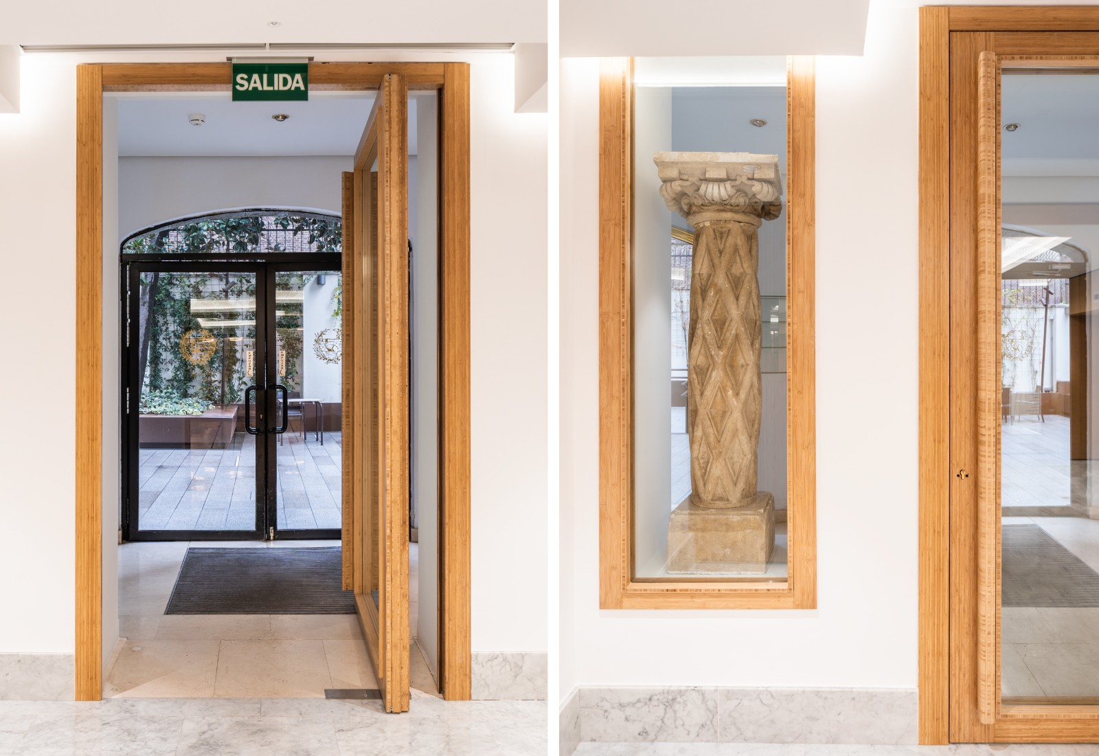 Puerta pìvotante de entrada en bambú