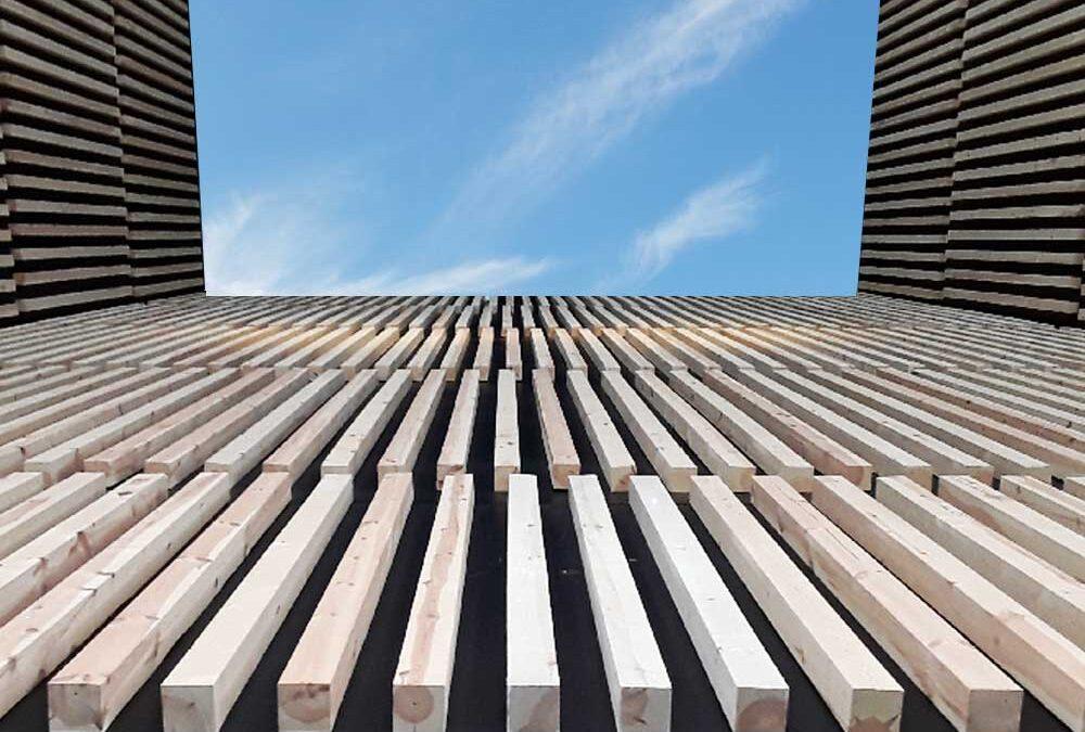 Pine slats facade